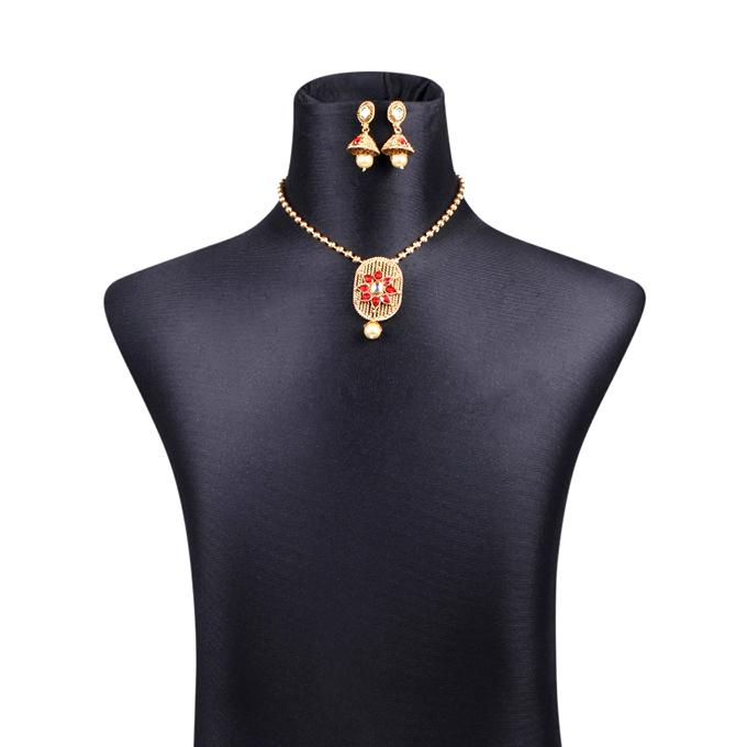 Metal Jewellery Set For Women - Golden With Ruby Stone
