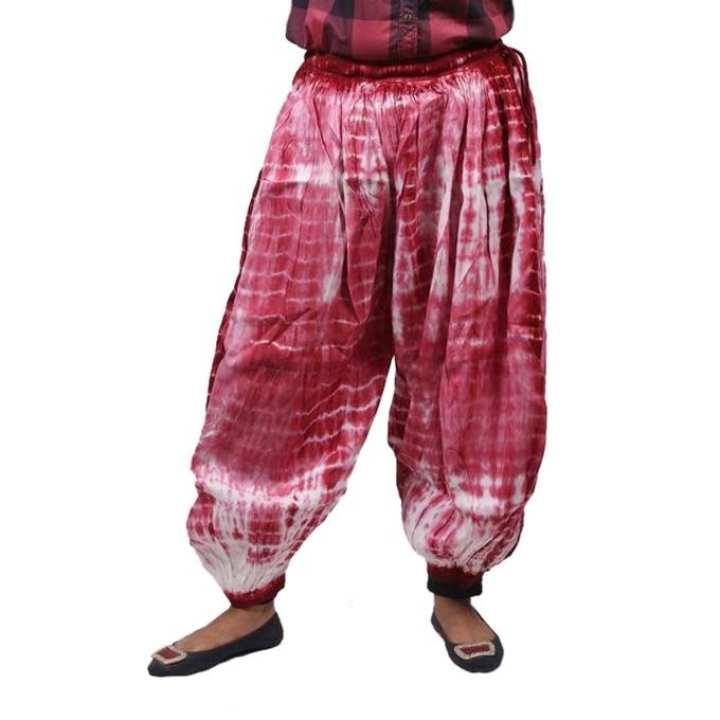 Pink Rust Cotton Tie Dye Harem Pant For Women