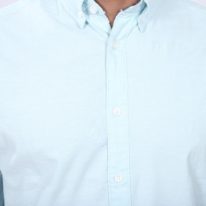 Sky Blue Cotton Long Sleeve Shirt for Men