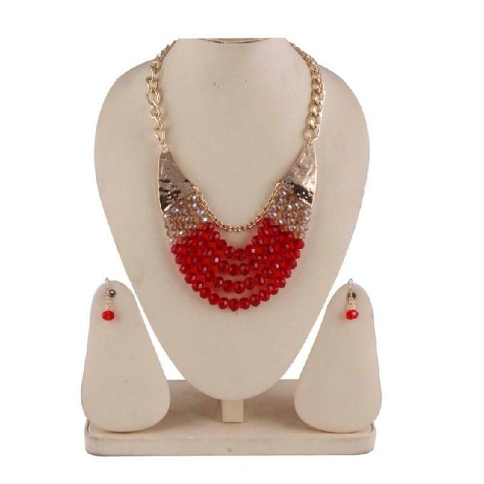 RA0072 Red And Golden Stone Jewellery Set For Women