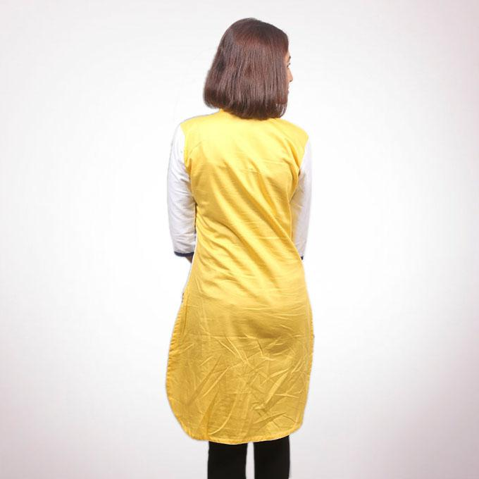 White And Yellow Satin Top For Women