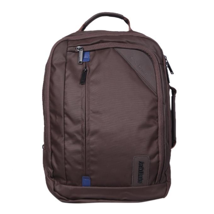 Deep Brown Polyester Backpack For Men