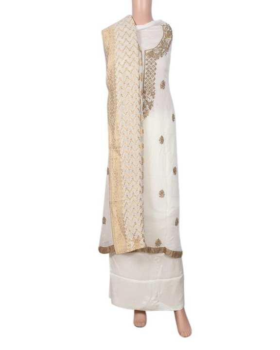 Linen Unstiched Salwar Kameez For Women - Off White
