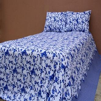 King Size 100% Cotton Bed Sheet Set with Two Pillow Cover - 8.5/7.5 Feet - Multi Color