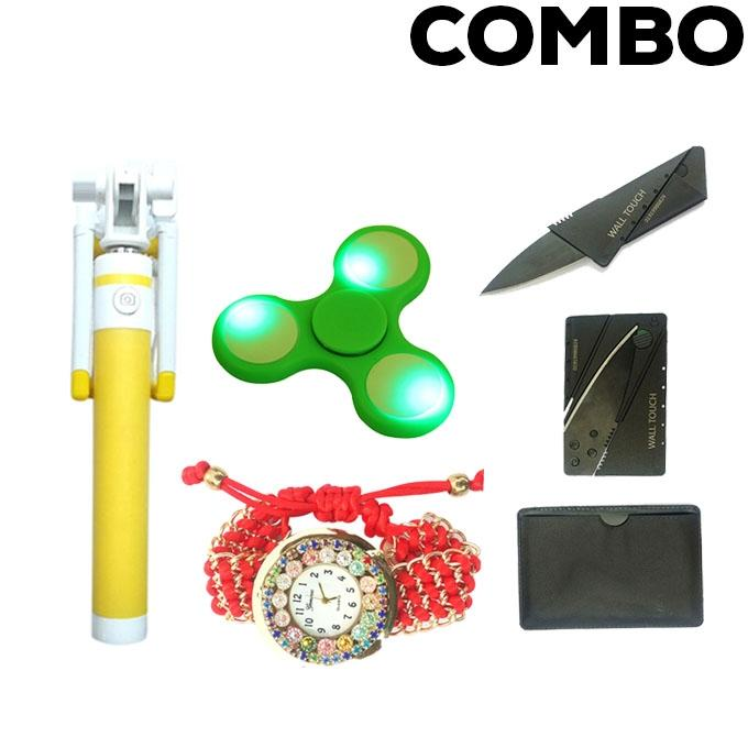 Combo Pack of 4 Women Wrist Watch, Fidget Spinner, Selfie Stick and Card Knife - Multi-color