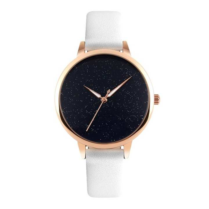 9141 - White Leather Analog Watch for Women