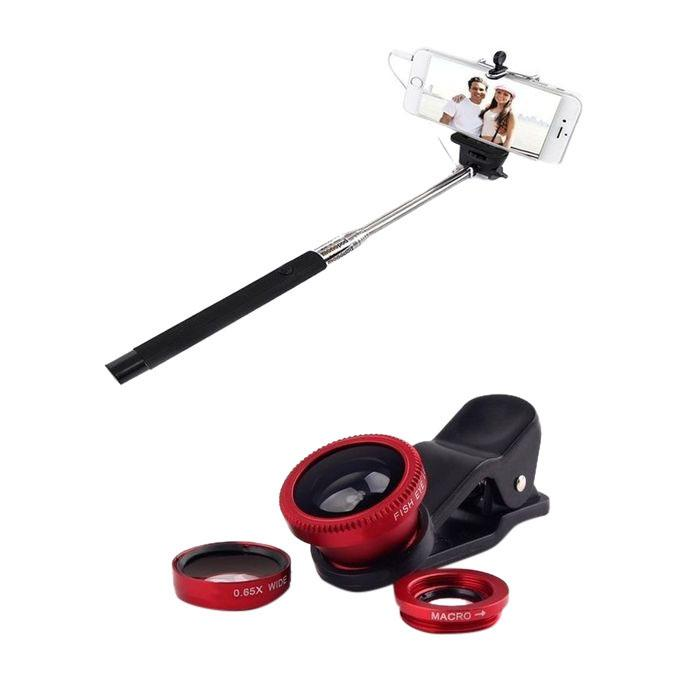 Pack of 2 Selfie Stick And Mobile Camera Lenses - Red & Black