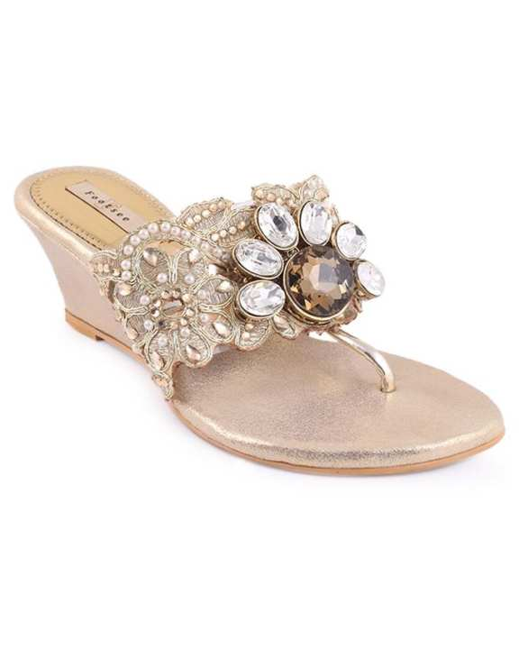 FOOTSEE Leather Casual Heeled Sandal For Women - Navajowhite
