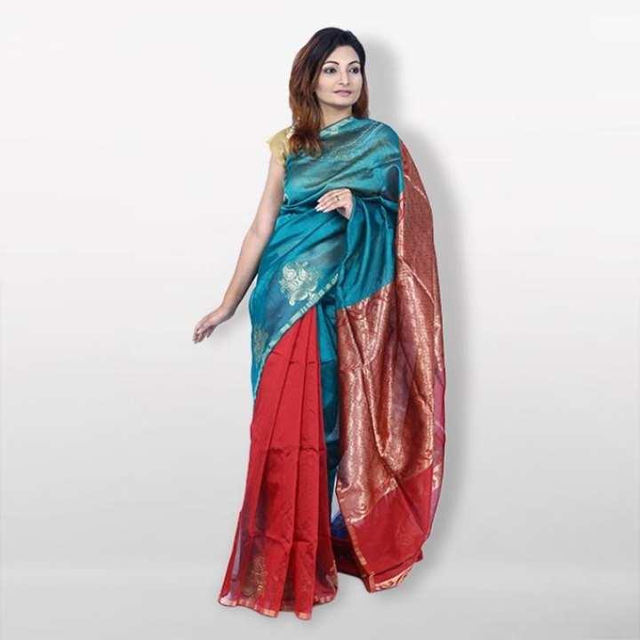 Multicolor Reshmi Silk Mirpur Jeri Net Saree  For Women