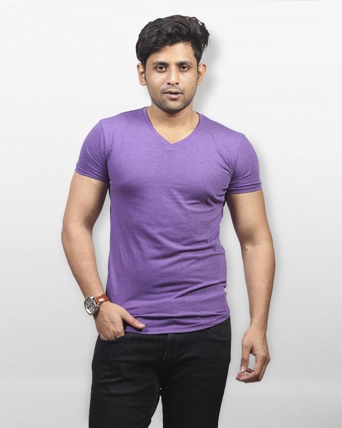 Purple Cotton Short Sleeve Tanjim T-Shirt For Men
