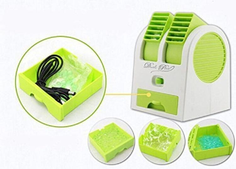 Mini USB Double Fan Air Cooler - White and Green