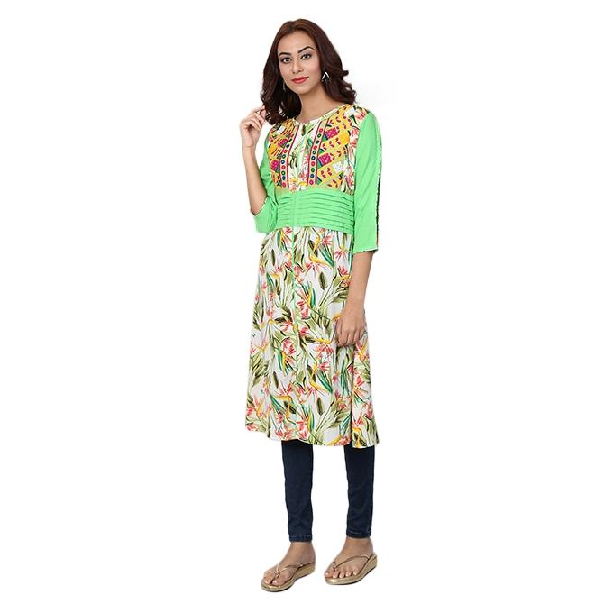 Multi-Color Mixed Fabrics Stitched Kurti for Women