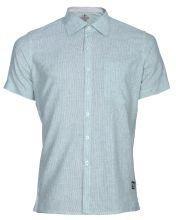 Linen Casual Short Sleeve Shirt - Green Stripe