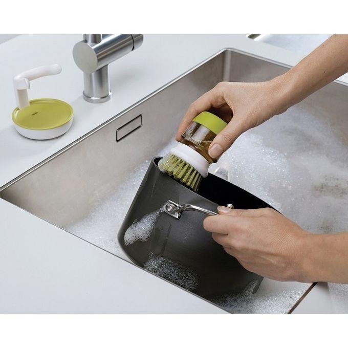 Jesopb - Dishwasher Soap Dispensing Palm Brush With Storage Stand