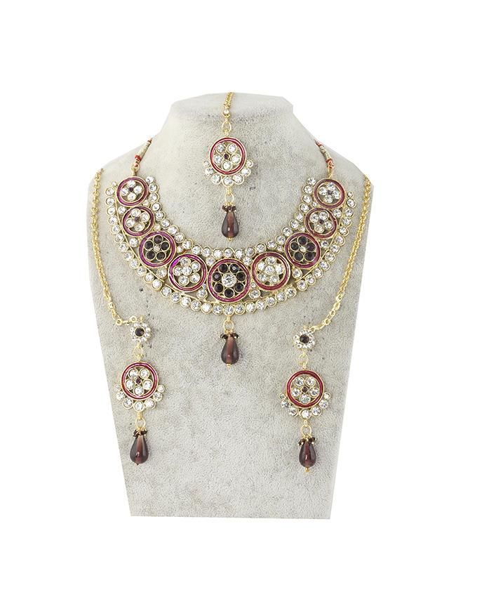 Gold Body Stone Necklace with Earrings and Tickly - Multicolor