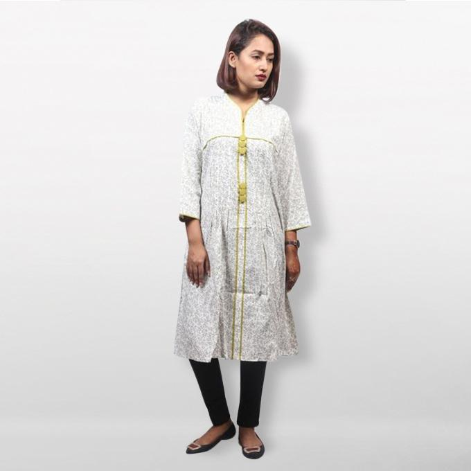 Moss and White Viscose Print Pin-tuck Kurti  For Women