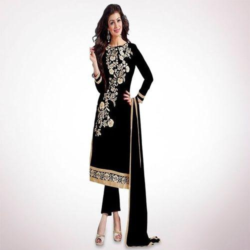 2637f9a960df Unstitched Black Cotton Block Print Salwar Kameez For Women