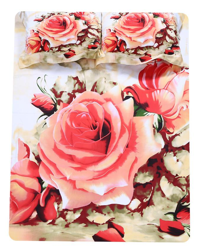 Cotton Printed Bed Sheet - White and Red