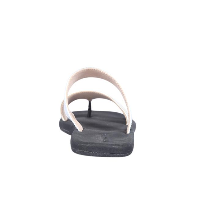 Golden PU Leather Double Parallal Strap Flat Sandal for Women