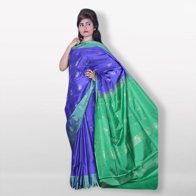Blue and Green Silk Katan Sharee For Women