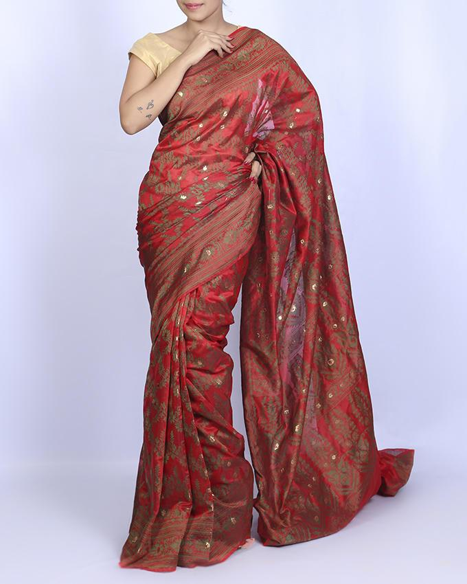 Katan Silk Party Saree - Red