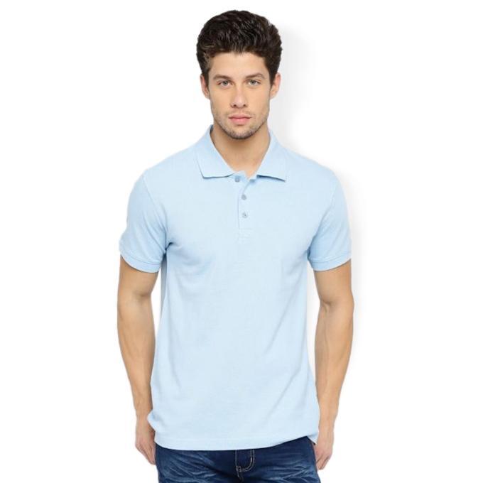 Sky Blue Cotton Casual Polo For Men