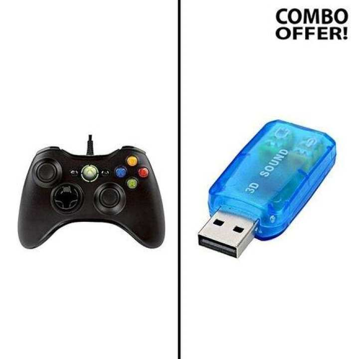 Combo of Vibration Gamepad and USB 3D Sound Card Adapter