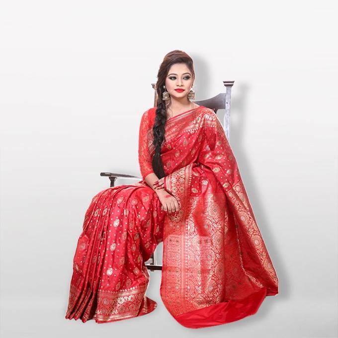 Red Meena Katan Saree for Women
