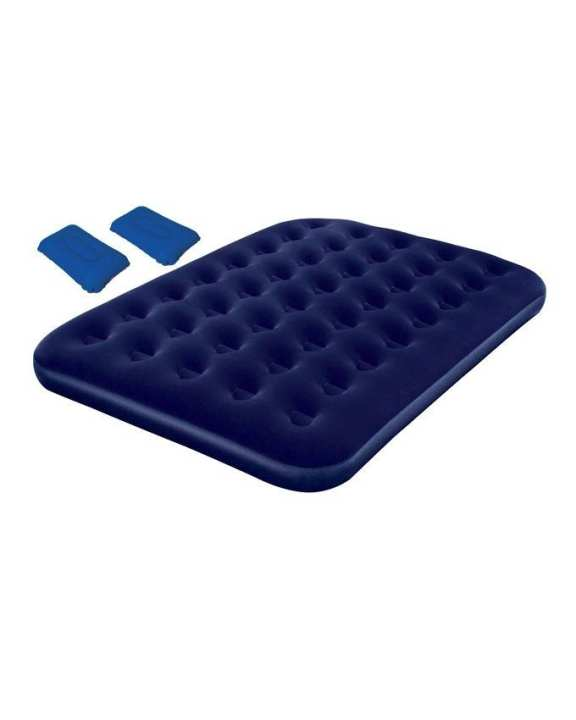 Comfort Quest Inflatable Double Size Flocked Camping Air Bed - Blue