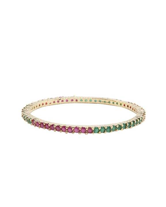 Golden Body Diamond Cut AD Stone bangles - Green and Pink