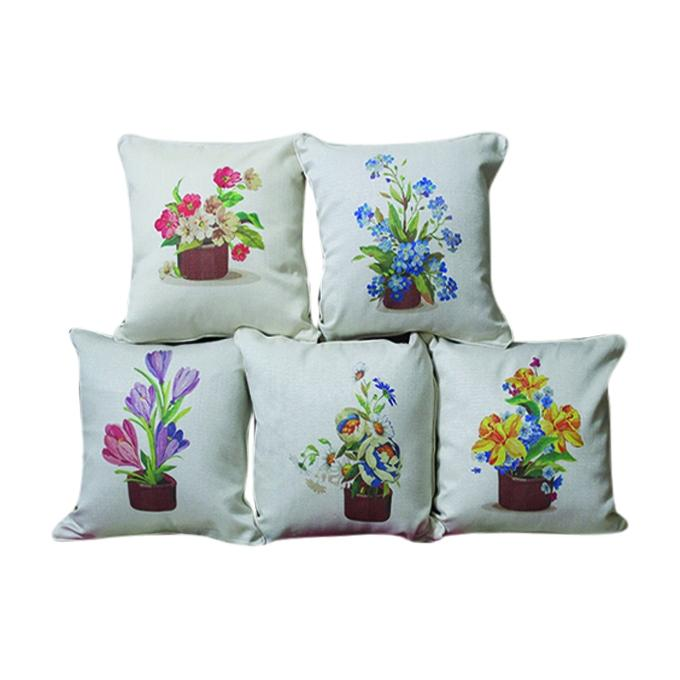 Flower Set 5Pcs Printed Cushion Cover - Off-white
