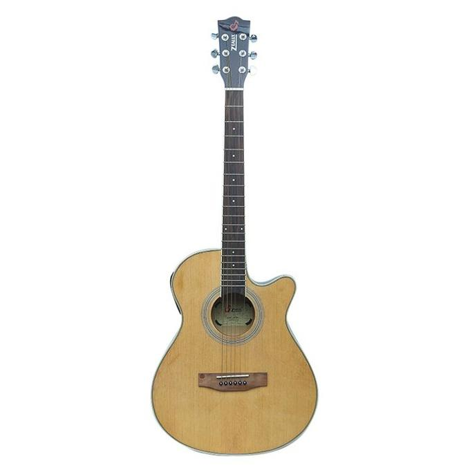 Beige Professional Semi Acoustic Guitar With 5 Bend Equalizer and Tuner