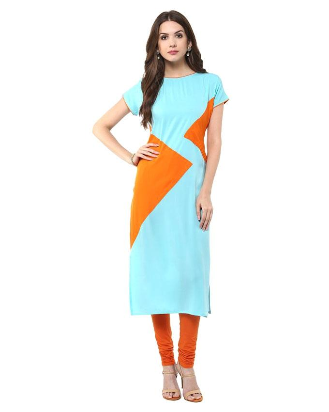 Paste and Orange Linen Kurti for Women (Tailor Made)