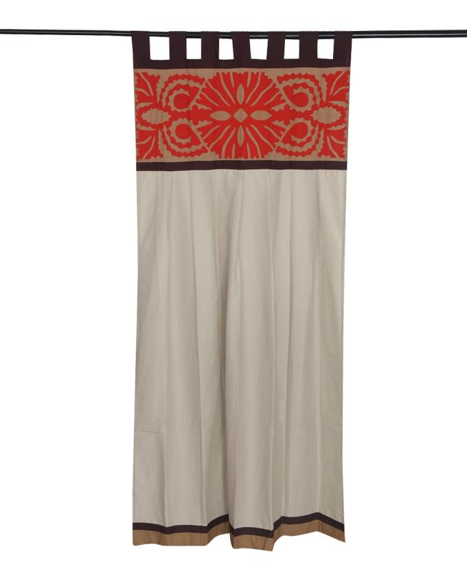 Cotton Curtain - Cream Coffee and Red