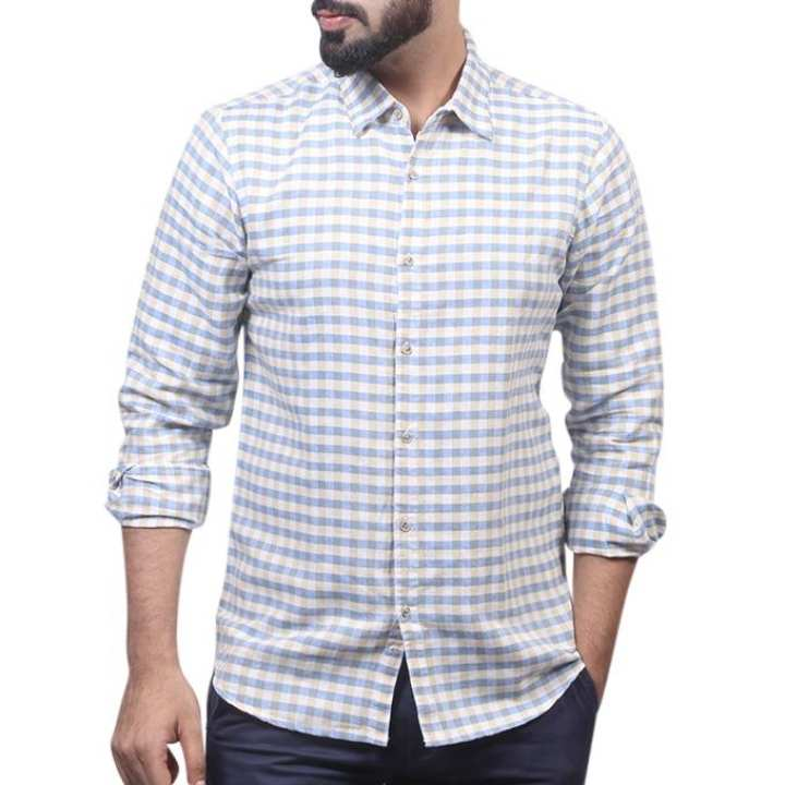 Teal And White Cotton Shirt For Men