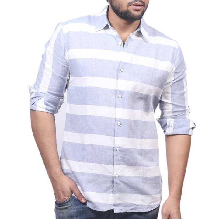 White And Ash Cotton Shirt For Men
