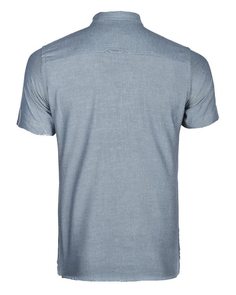 Cotton  Casual Short Sleeve Shirt - Gray