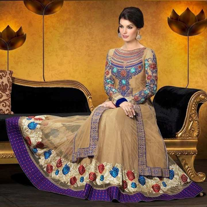 Multicolor Georgette Semi-Stitched Long Dress for Women