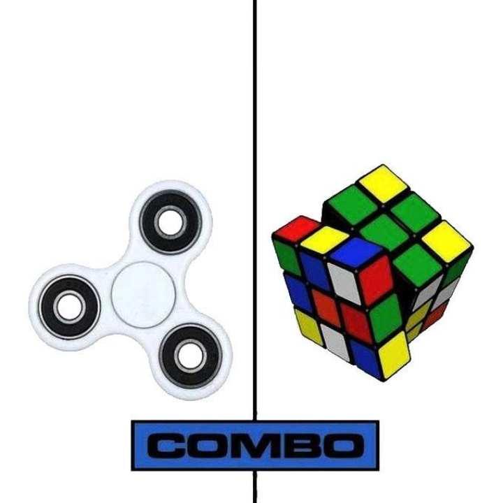 Combo Pack of White Fidget Spinner and Rubik Magic Cube