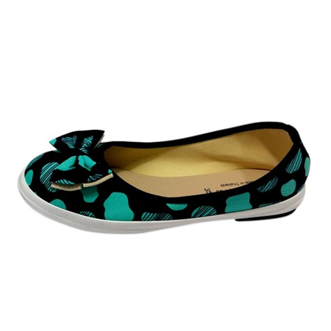 Thai Black And Cyan Cotton Flat Running Sneakers for Women