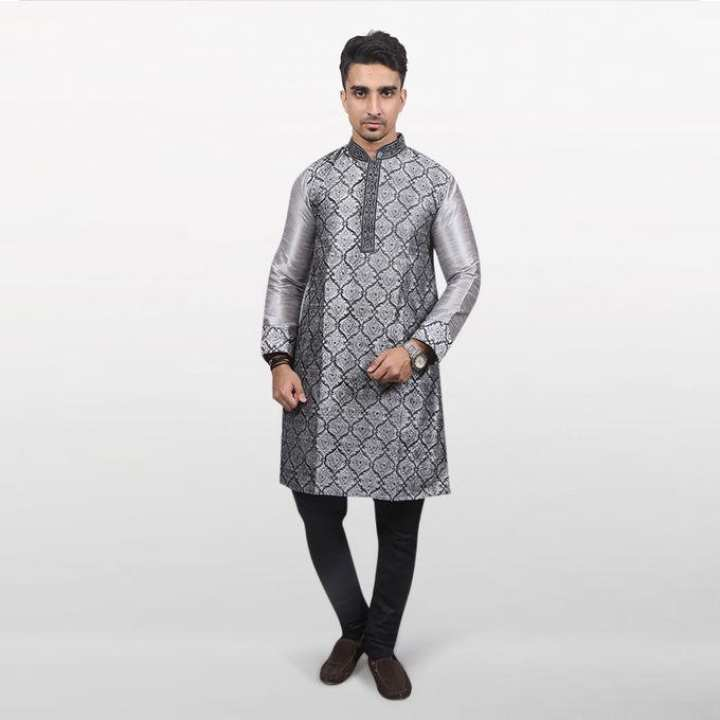 Gray Katan Cotton Panjabi For Men