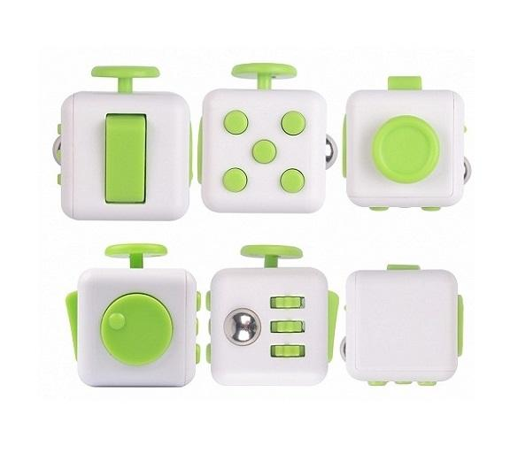 Fidget Cube Relieves Stress & Anxiety - Green & White