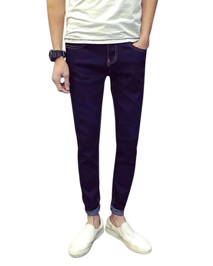 Navy Blue Denim Casual Jeans For Men