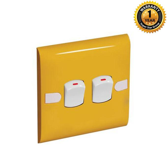 Color Slim Series Color Slim Two Gang One Way Switch – Yellow