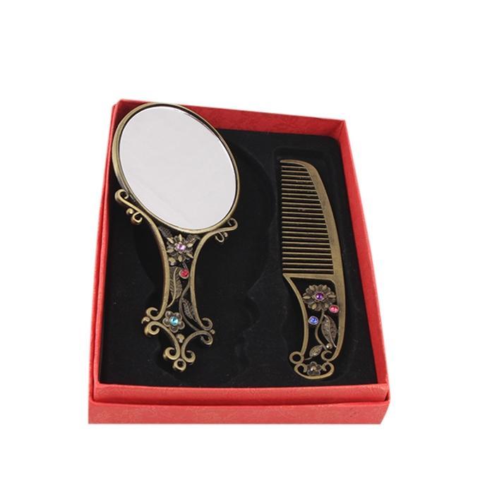 Mirror with Comb Set - Golden