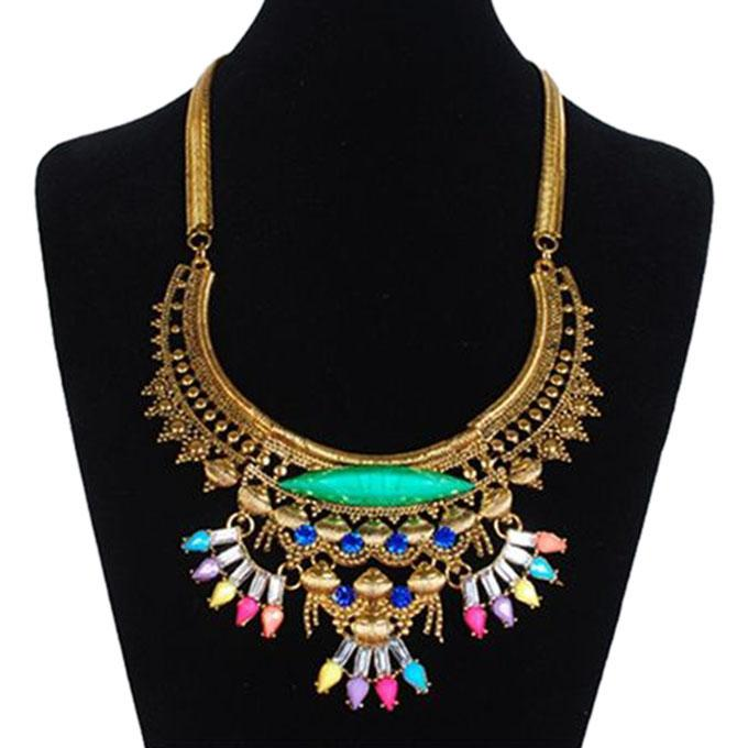 Multi-Color Metal and Stone Setting Necklace for Women