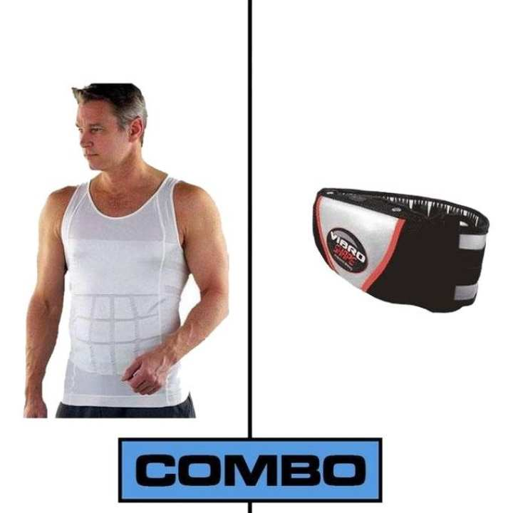 Combo Pack of 2 Slim N Lift Sleeveless T-Shirt and Slimming Belt - Black and White