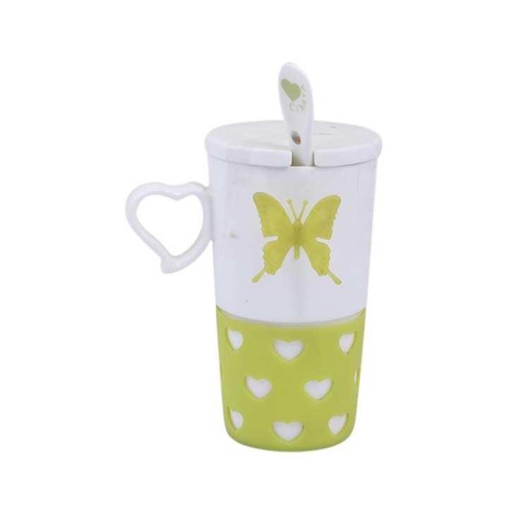 Ceramic Mug - White and Green