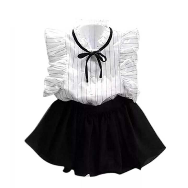 White and Black Cotton Party Dress For Girls