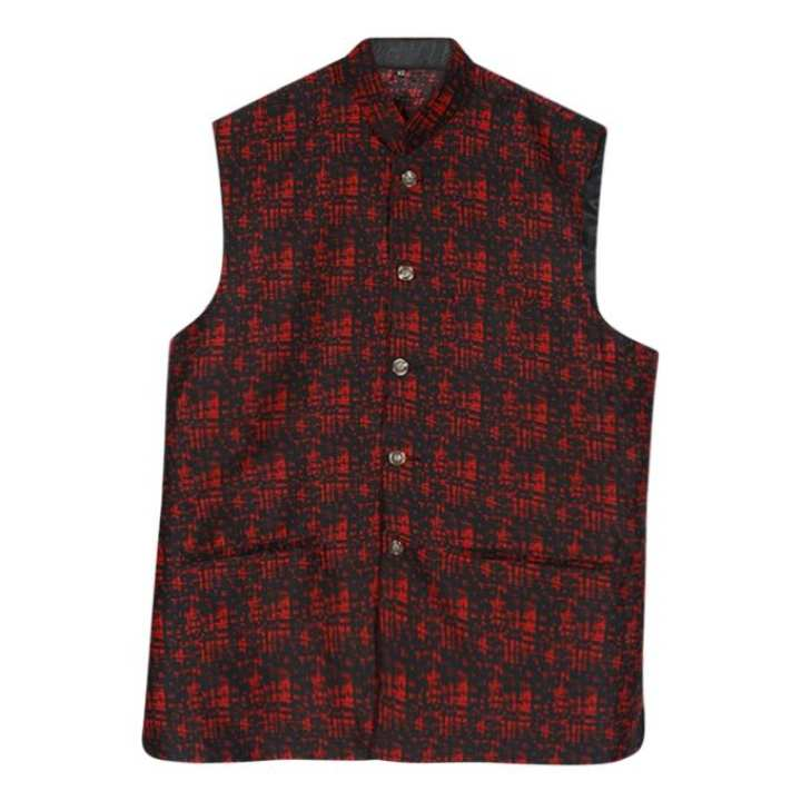 Black And Maroon Silk Sleeveless Koti For Men